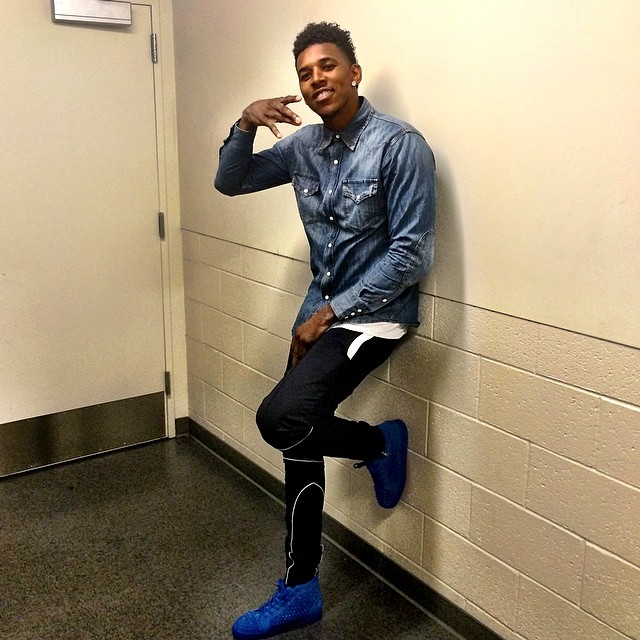 Nick Young wearing Christian Louboutin Louis Flat