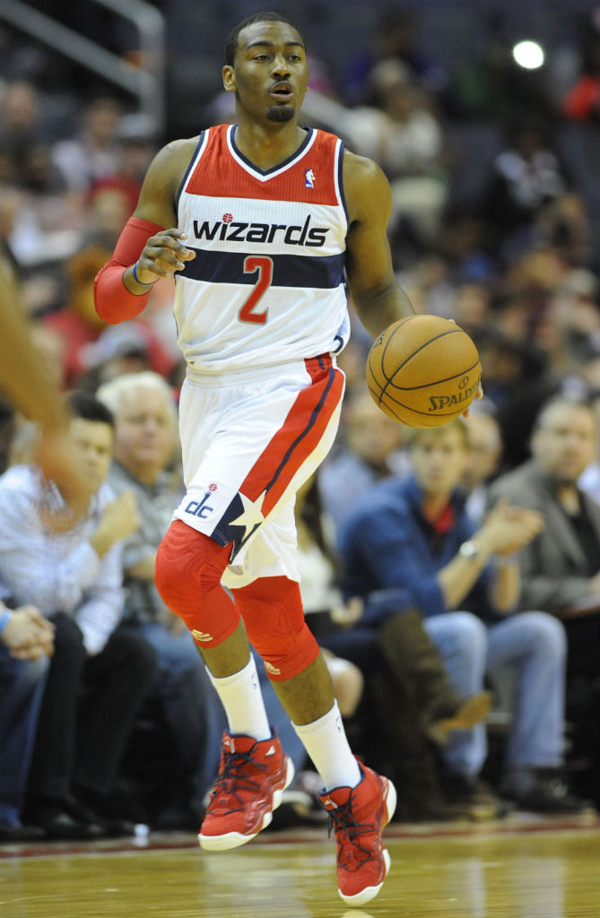 John Wall wearing adidas Top Ten 2000 Red Navy (1)