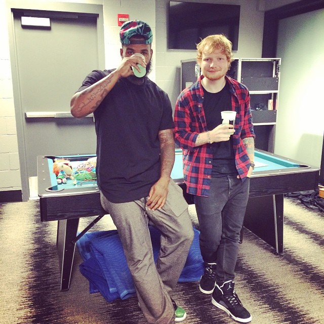 The Game wearing Air Jordan XI 11 Low Green Snake; Ed Sheeran wearing Air Jordan V 5 Oreo