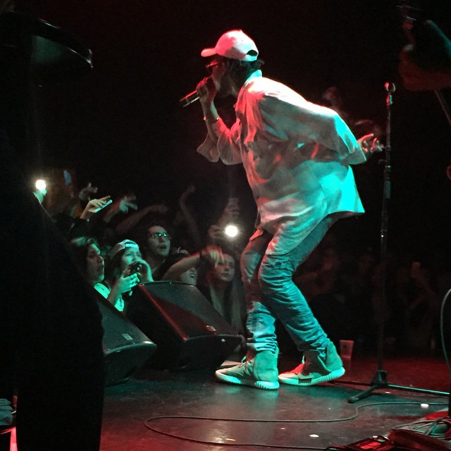 Theophilus London wearing adidas Yeezy 750 Boost