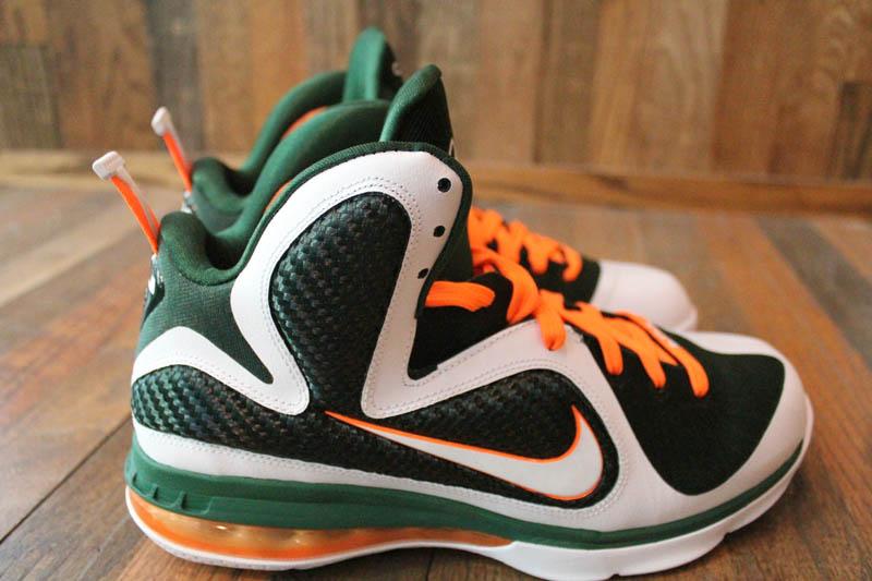 93a3db48465 Nike LeBron 9 Miami Hurricanes White Gorge Green Total Orange 469764-102 8