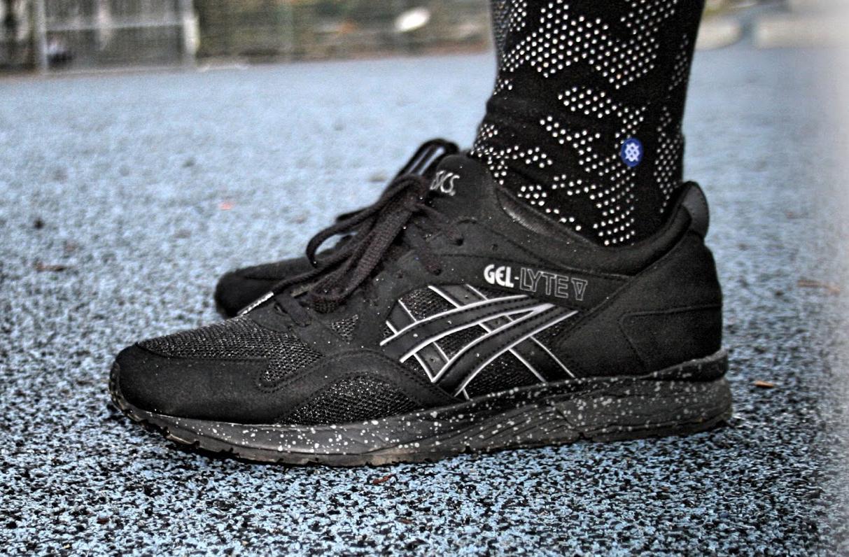 The Asics Gel Lyte V sports some speckled soles.