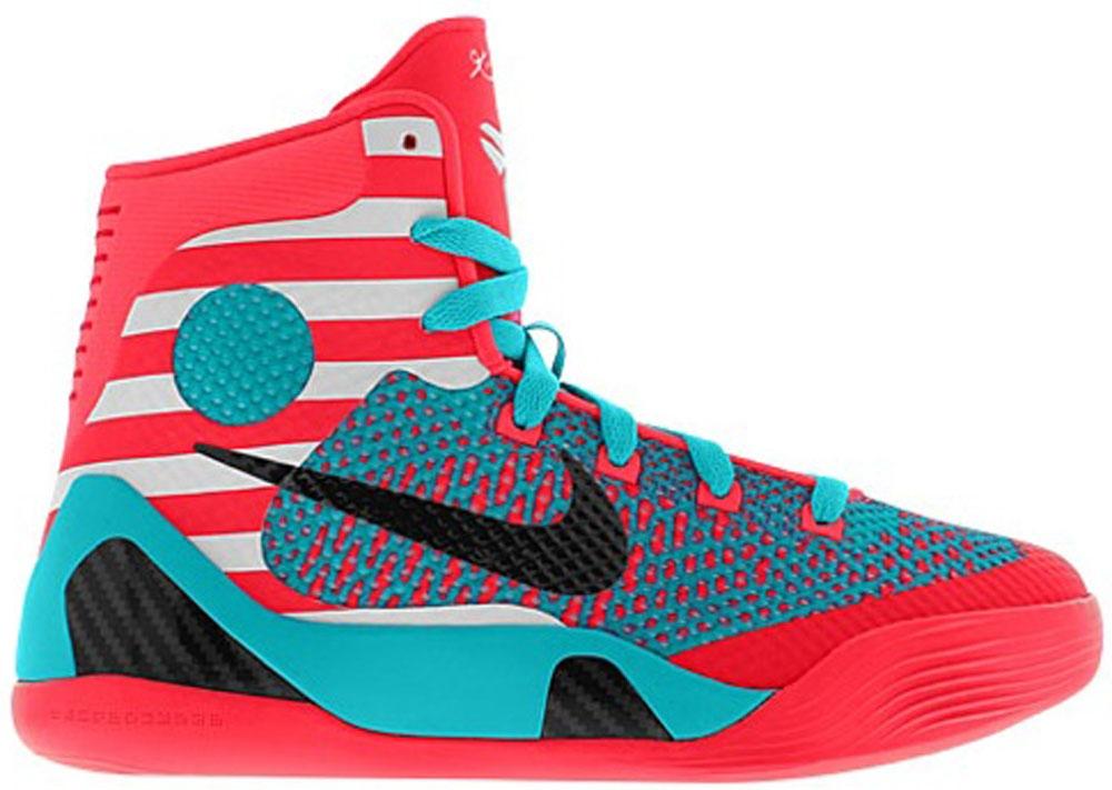 Nike Kobe 9 GS Laser Crimson/Black-Turquoise Blue