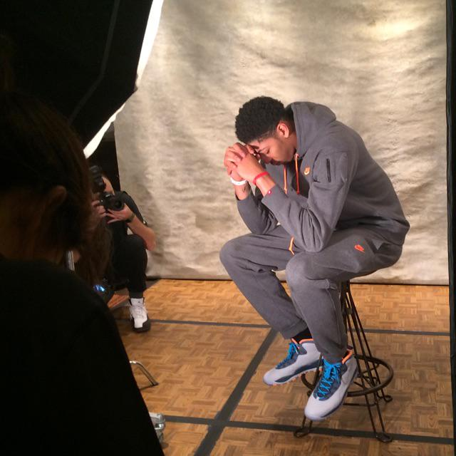 Anthony Davis wearing Air Jordan X 10 Bobcats