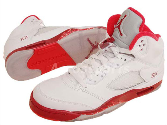 sports shoes 33fe4 67d71 Air Jordan Retro 5 GS - White/Legacy Red-Scarlet Fire - New ...