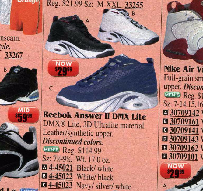 Reebok Answer II in Eastbay Catalog 2000