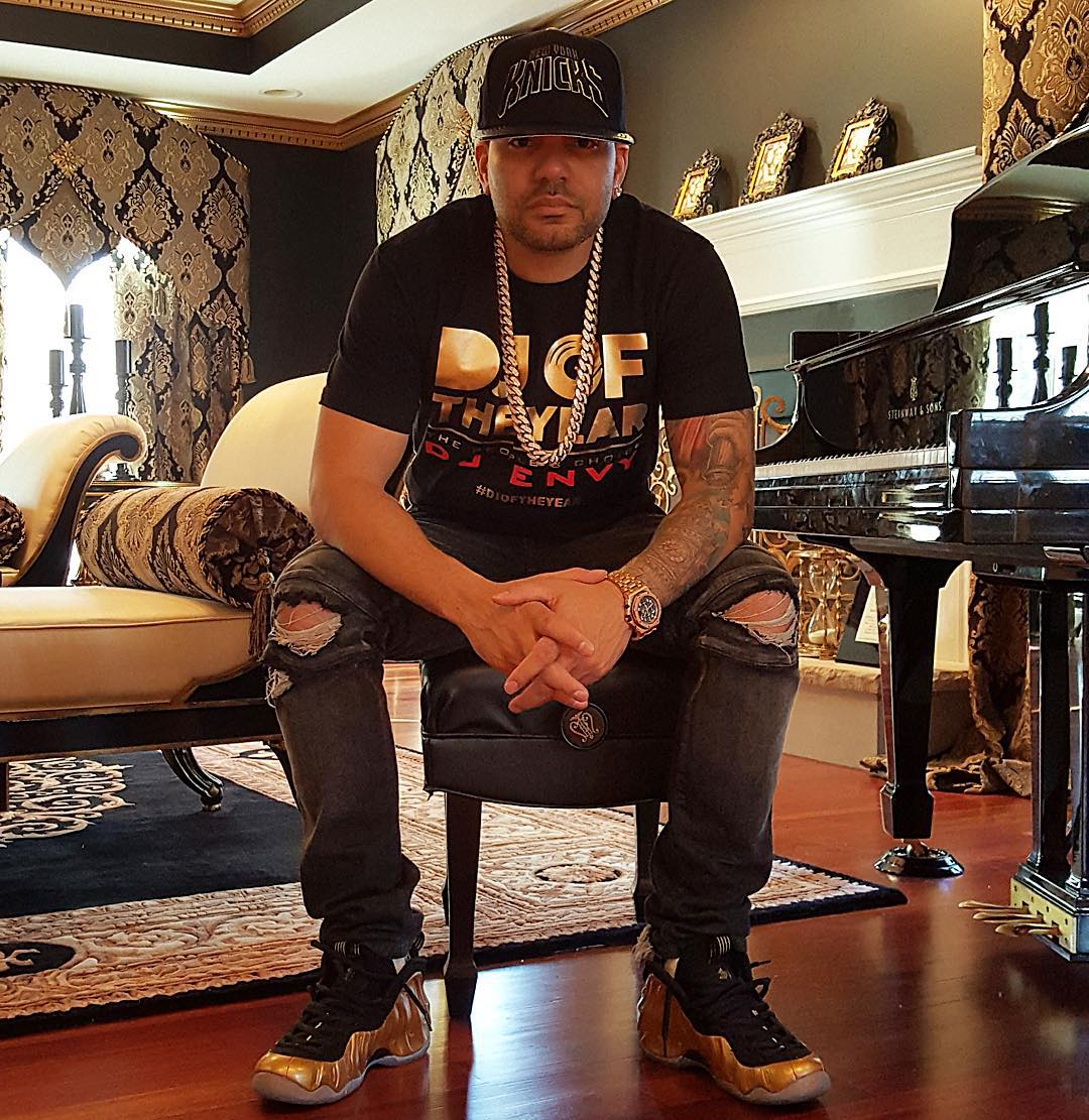 DJ Envy wearing the 'Metallic Gold' Nike Air Foamposite One
