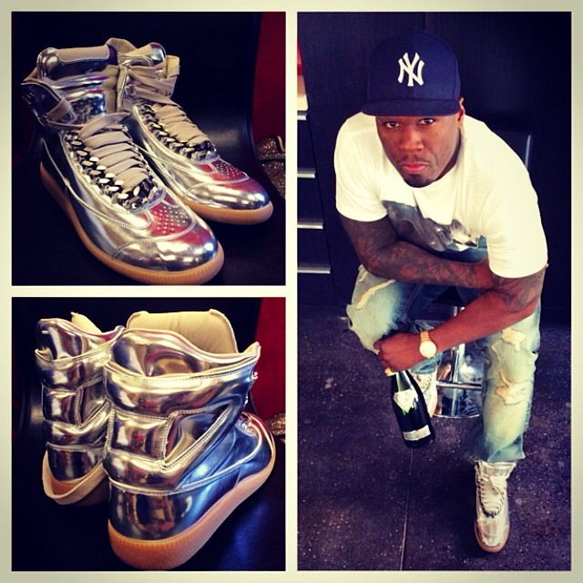 5e158bcbcc5 50 Cent wearing Maison Martin Margiela 22 Replica Silver