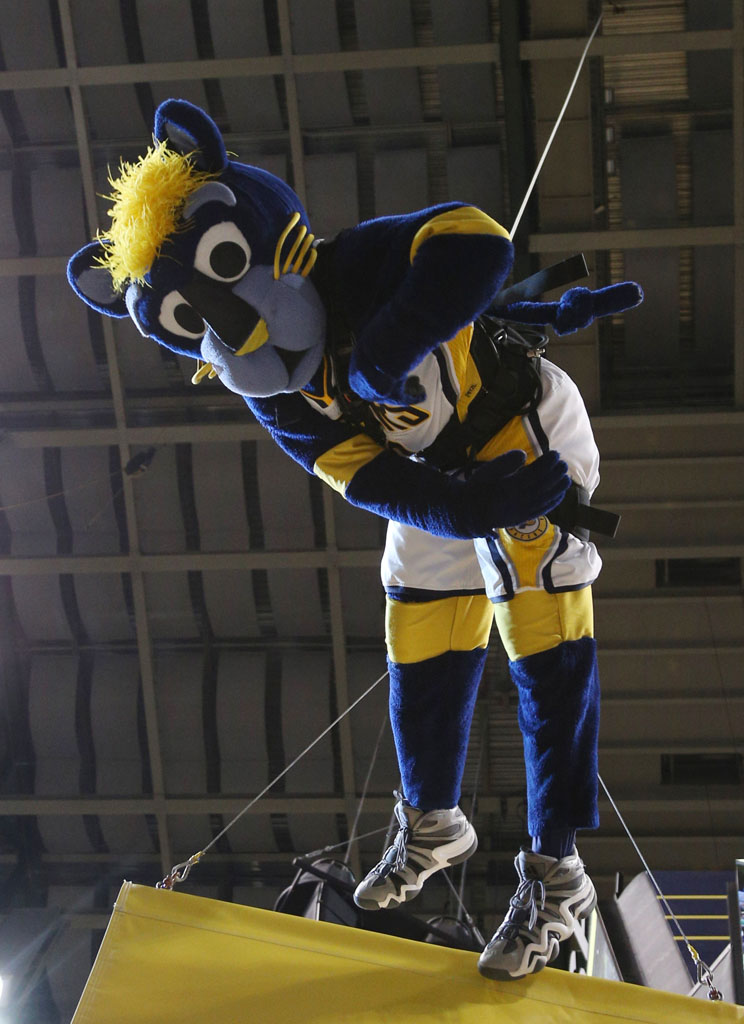 Indiana Pacers Mascot Boomer wearing the adidas Crazy 8