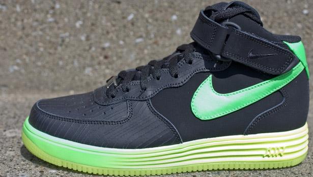 Nike Lunar Force 1 Mid LTR Black/Poison Green-Volt
