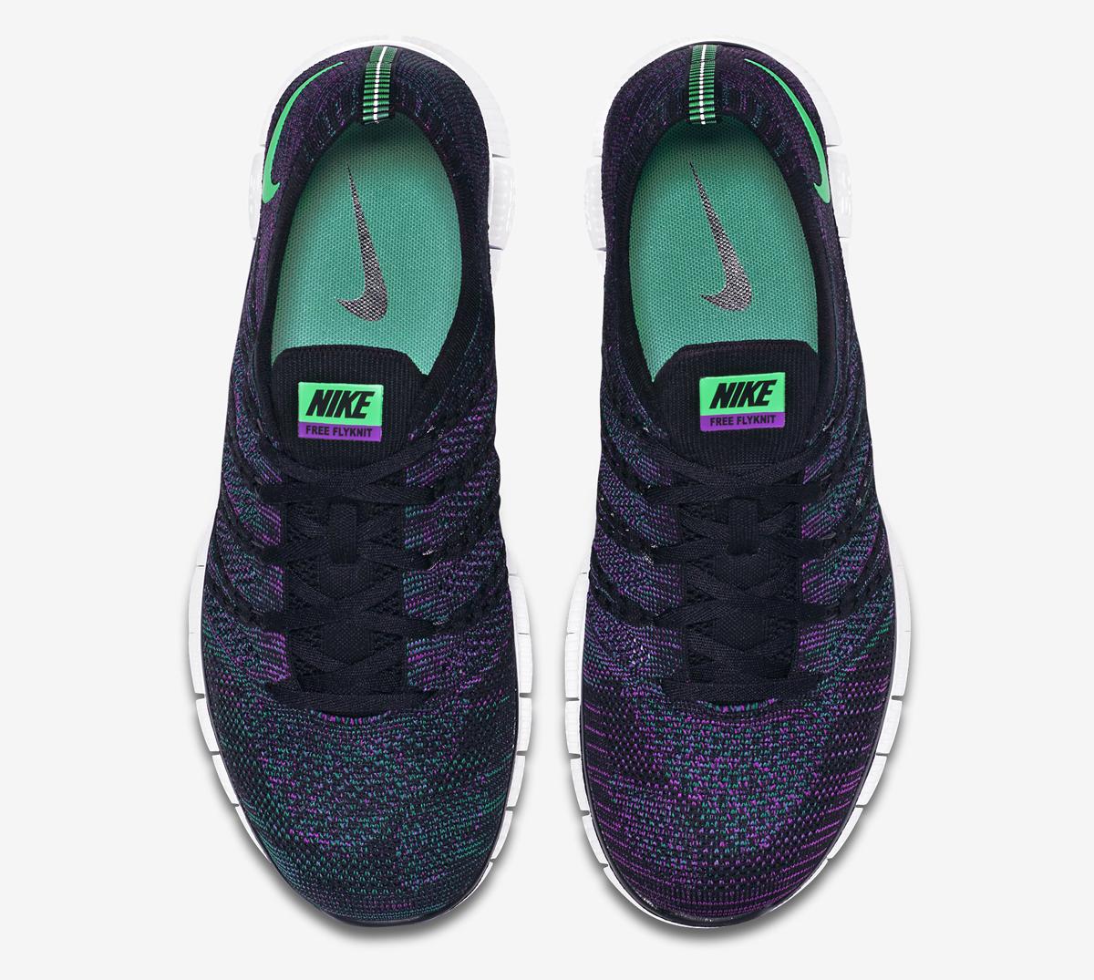 Nike Free Flyknit NSW Color  Black Green Glow-Radiant Emerald-Vivid Purple  Style    599459-003 859c3e064