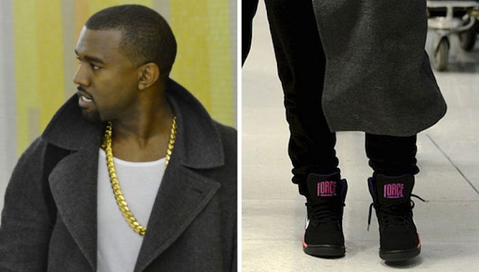 Kanye West wearing Nike Air Force 180 Mid Suns