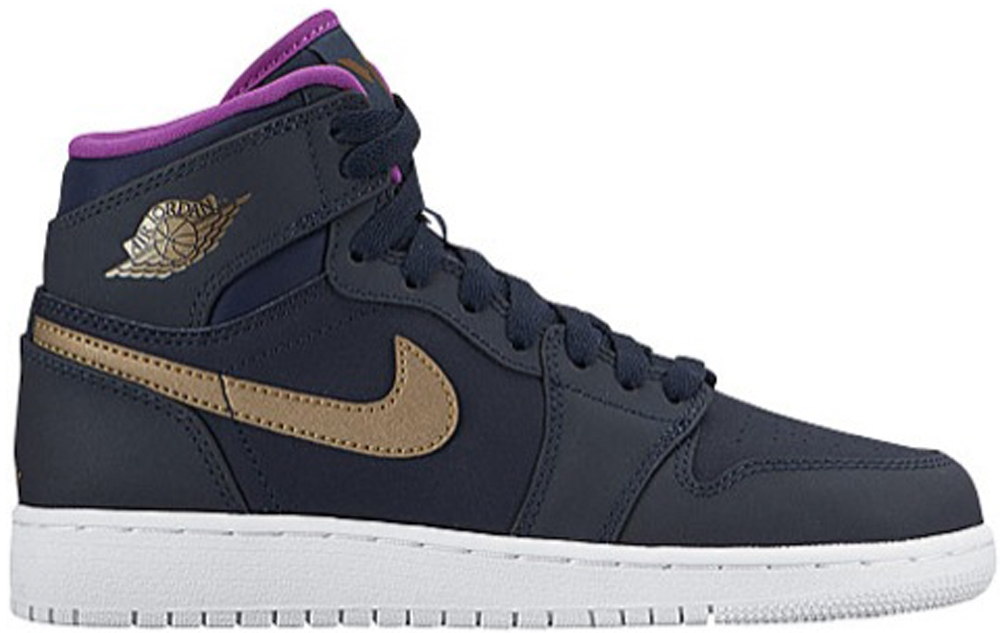 Air Jordan 1 Retro High Girls Obsidian/Metallic Gold-White