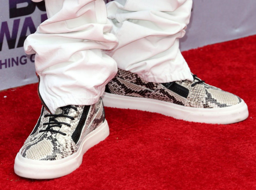 French Montana wearing Giuseppe Zanotti Double-Zip Snakeskin (2)