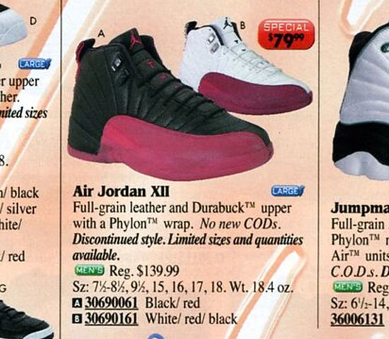 Air Jordan 12 in Eastbay Catalog 1999