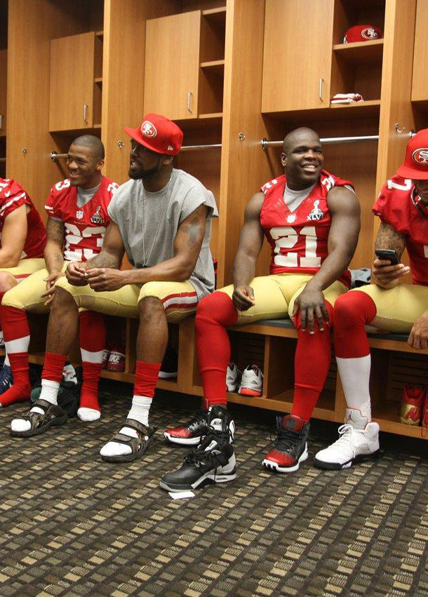 Frank Gore wearing adidas Rose 3.5 Away