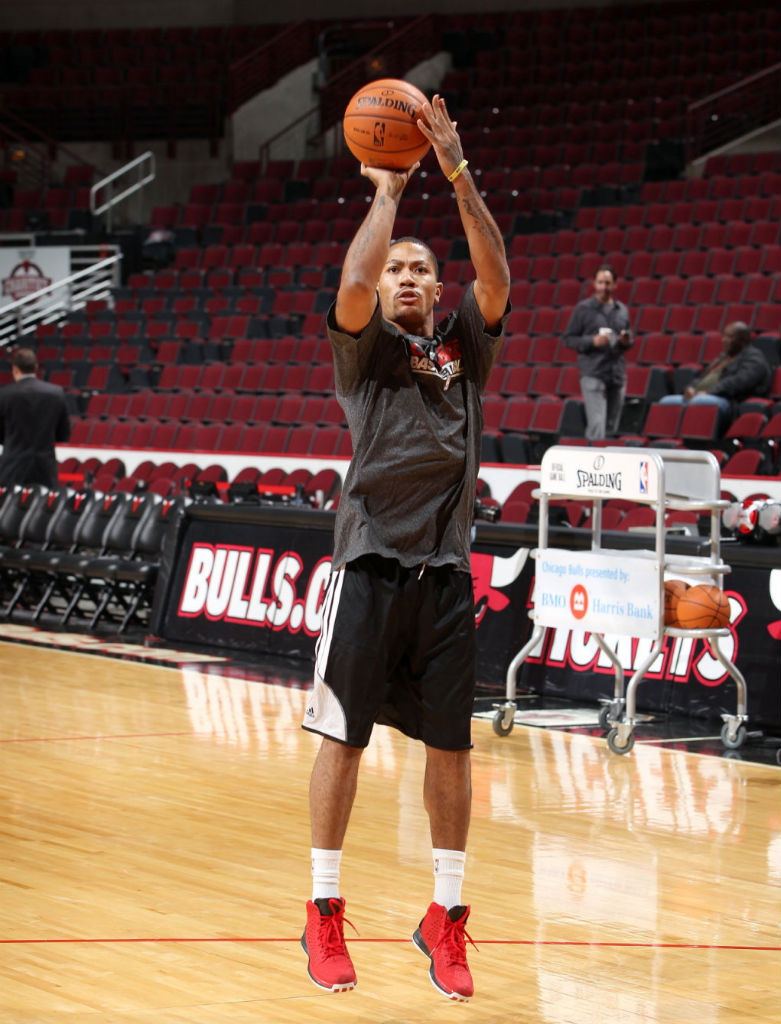 Derrick Rose wearing adidas Rose 3 Light Scarlet