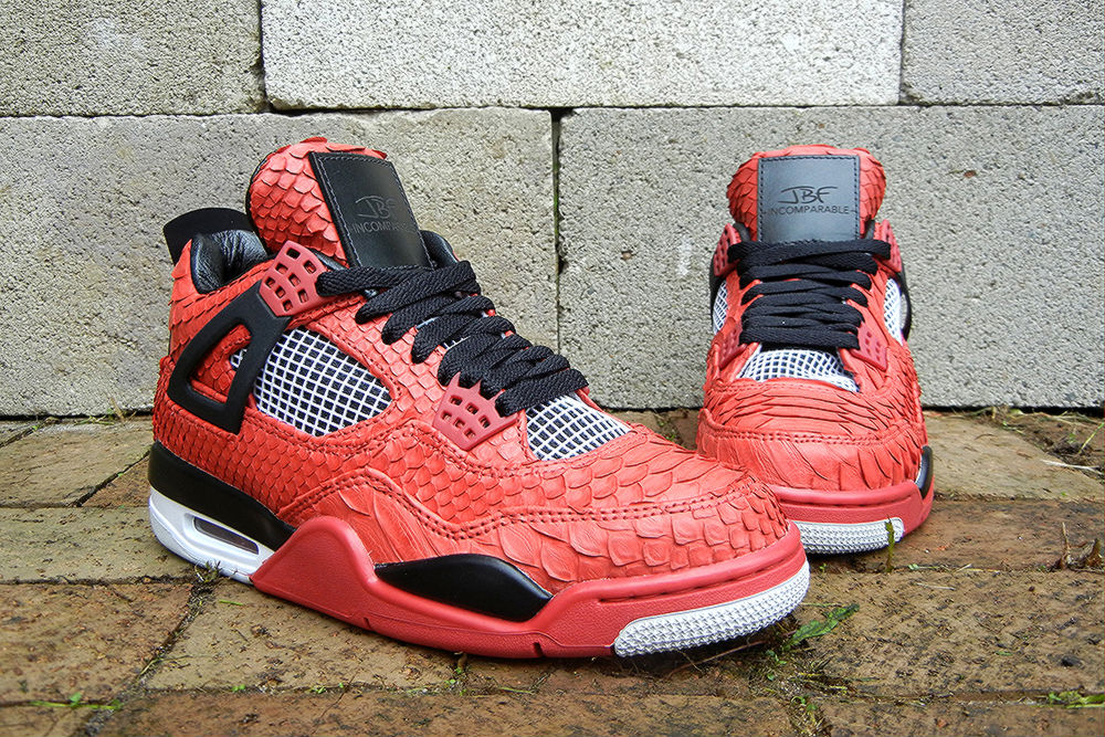 "Air Jordan IV 4 Retro ""Red Python"" by JBF Customs (2)"