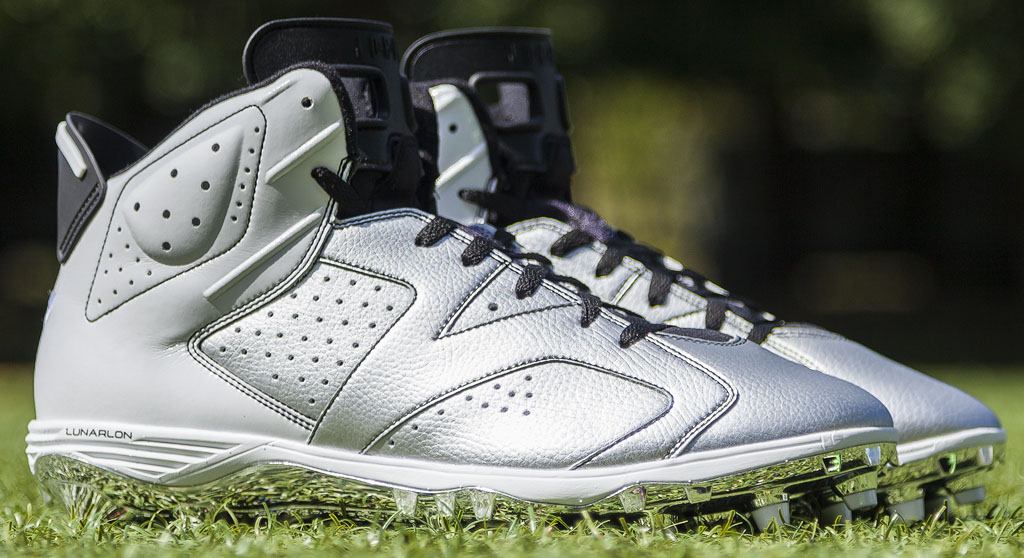 LaMarr Woodley's Air Jordan VI 6 Raiders PE Cleats (1)