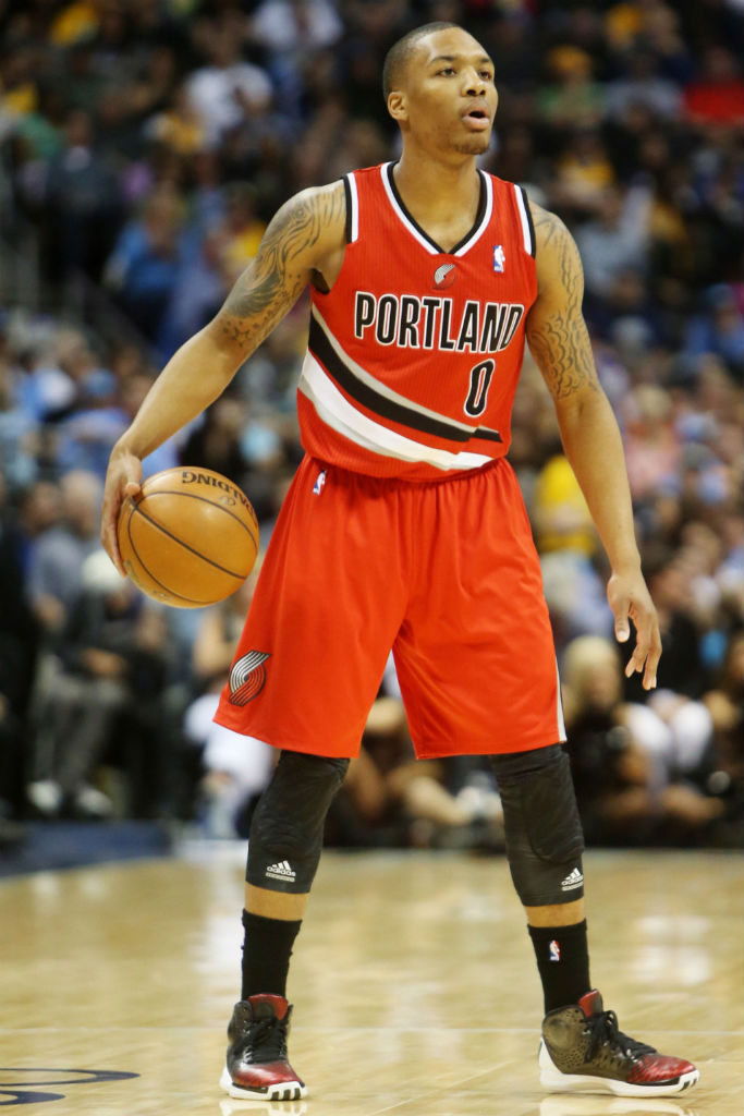 Damian Lillard wearing adidas Rose 3.5 Away