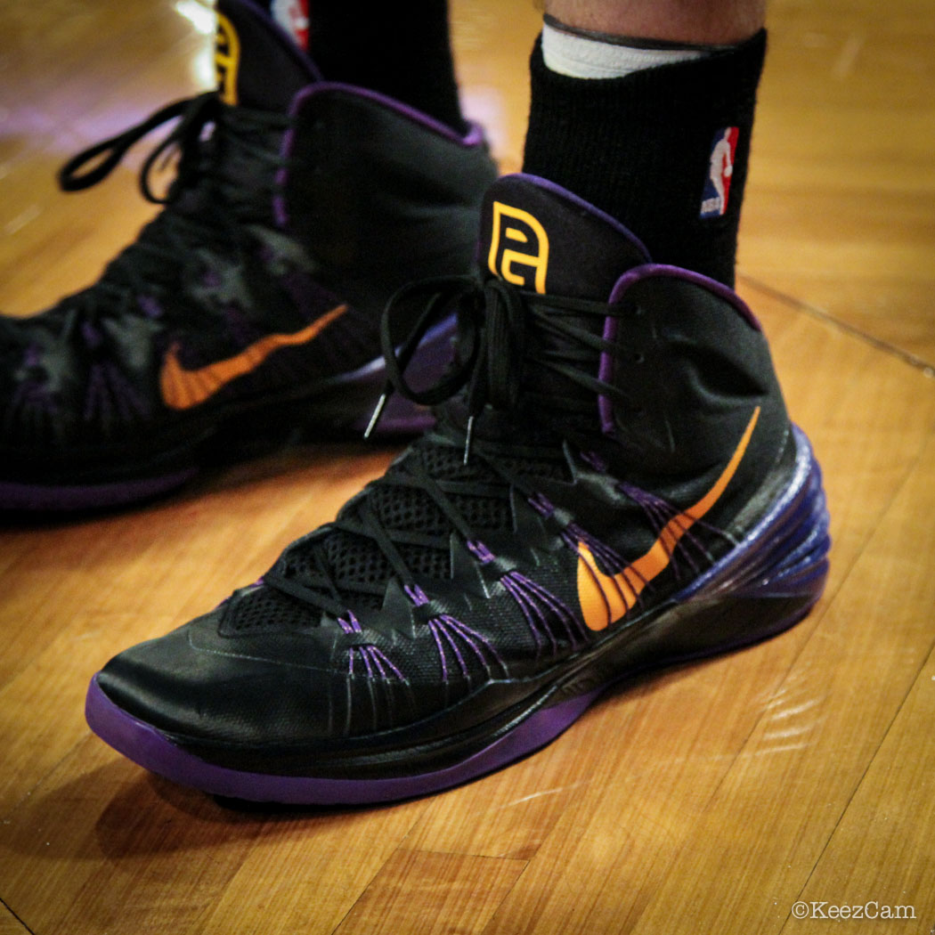 SoleWatch // Up Close At Barclays for Nets vs Lakers - Pau Gasol wearing Nike Hyperdunk 2013 PE