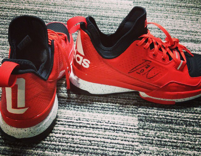 adidas D Lillard 1 Red/Black-White Sample