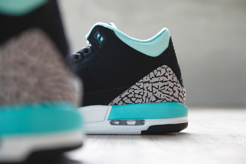 eceea0b12382bb Air Jordan 3 Retro GS Black Iron Purple-Bleached Turquoise-Wolf Grey ...