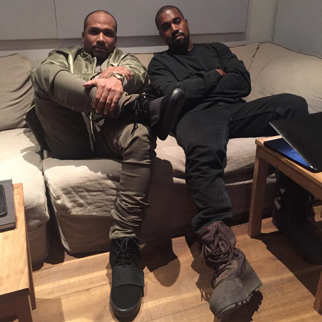 413425b672 Kanye West wearing the  Chocolate  adidas Yeezy 950  Cyhi the Prynce wearing  the