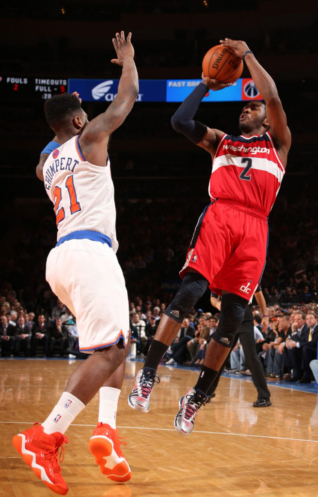 John Wall wearing adidas Crazyquick PE; Iman Shumpert wearing adidas Top Ten 2000 2WO 1NE