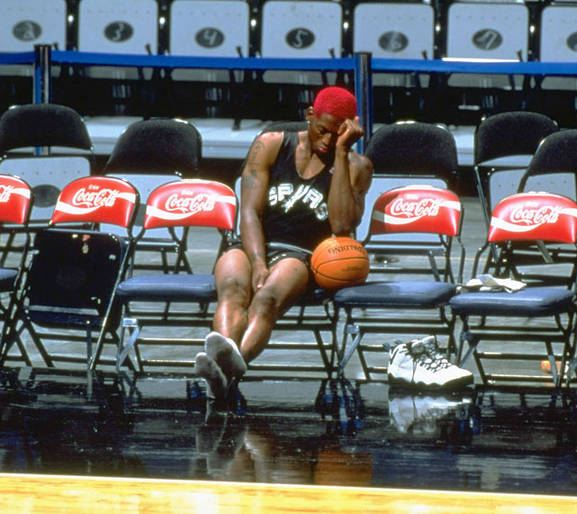 Dennis Rodman wearing the Nike Air Darwin