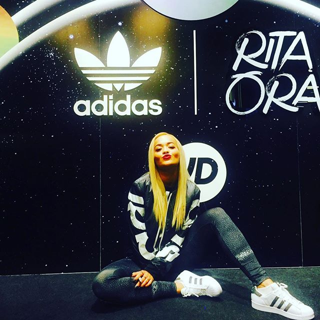 Rita Ora wearing the adidas Originals Superstar