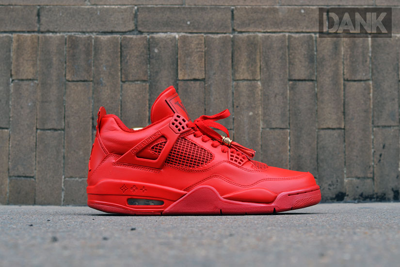 Air Jordan IV 4 Red Don Louis Vuitton by Dank Customs (2)
