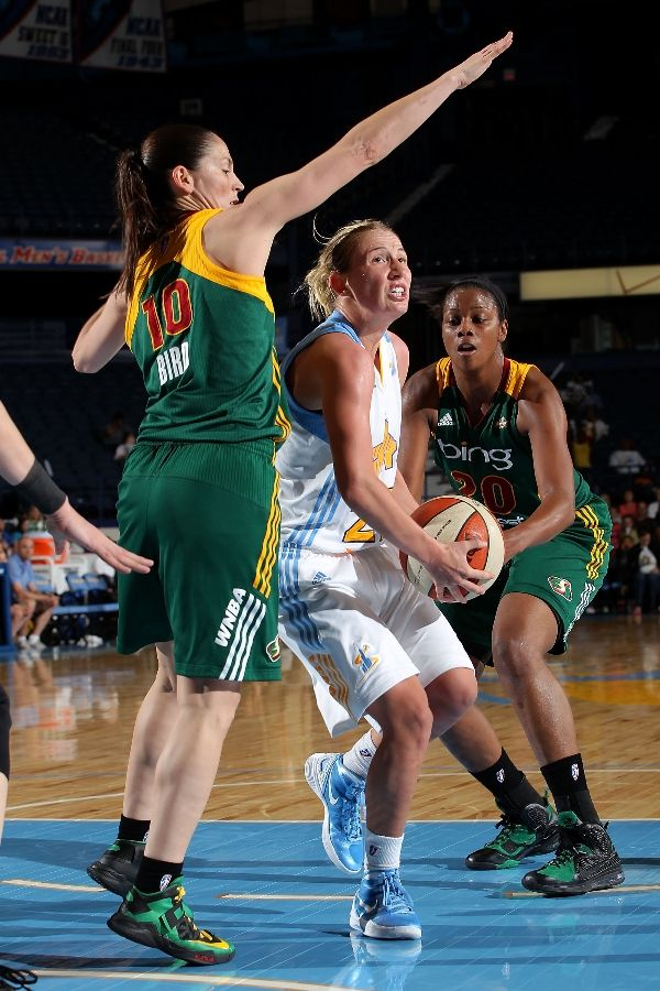 Sue Bird wearing Nike Zoom Soldier VI; Camille Little wearing Nike LeBron 9