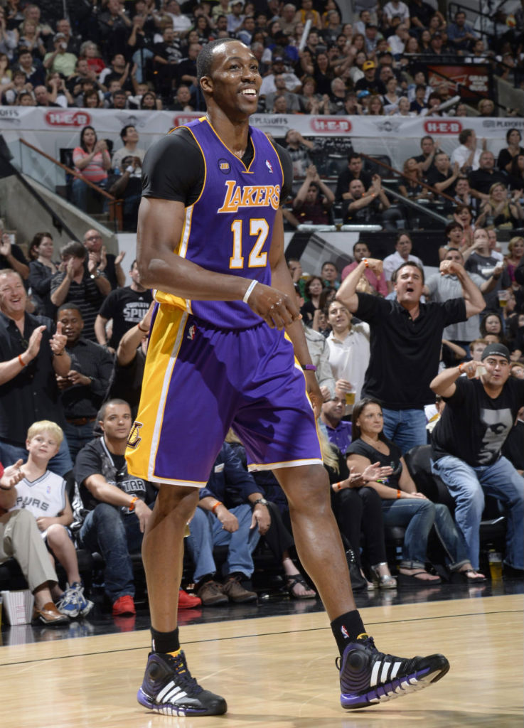 Dwight Howard wearing adidas D Howard Light 2 Lakers