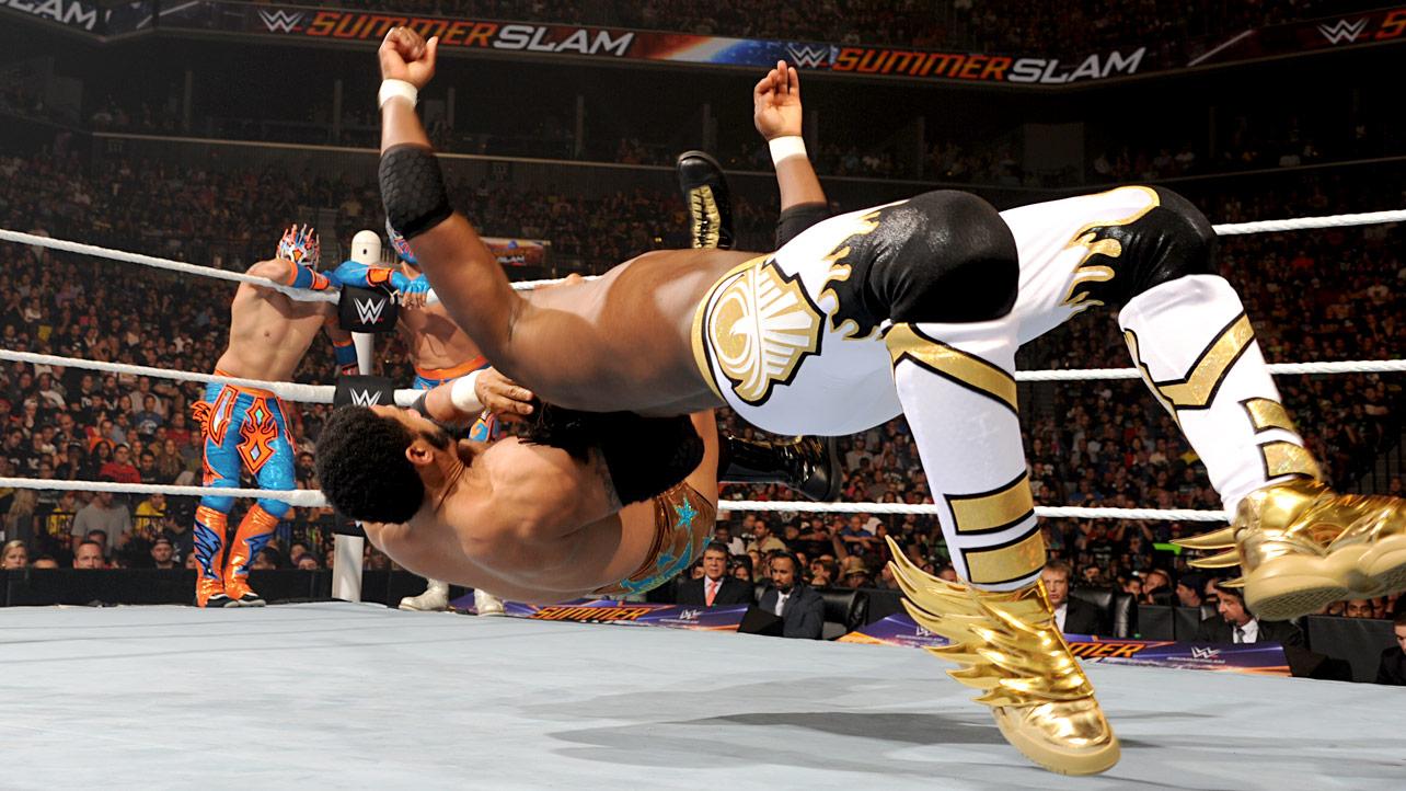 Kofi Kingston wearing Gold adidas JS Wings 3.0 Sneakers at SummerSlam (3) 1a1729f731cd