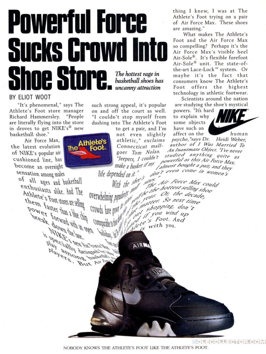 Vintage Ad Nike Air Force Max Sole Collector