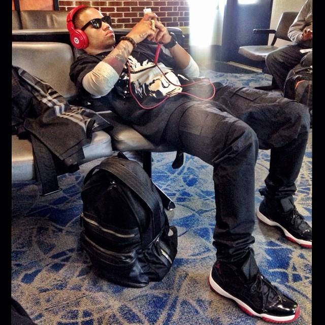 Mack Wilds wearing Air Jordan 11 Black Red 096dce340e62