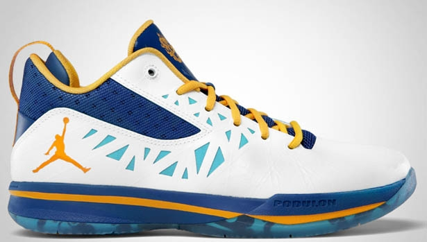 Jordan CP3.V White/University Gold-Tide Pool Blue- Storm Blue