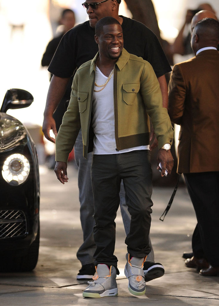 4bb12e8b78f2 Kevin Hart wearing Nike Air Yeezy Zen Grey