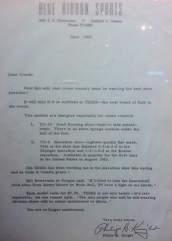 Phil Knight's Blue Ribbon Sports Letter