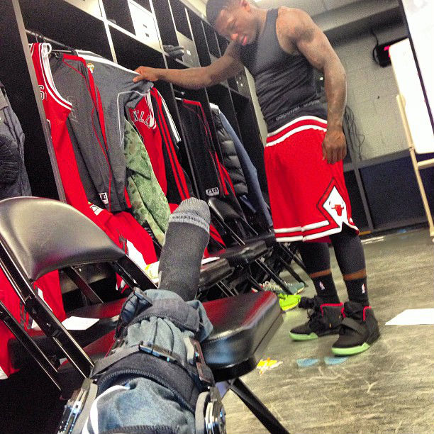 Nate Robinson wearing Nike Air Yeezy 2 Black Solar Red (3)
