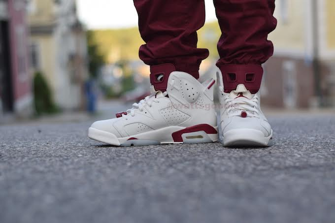 Air Jordan 6 Maroon On-Foot 384664-116 (11)