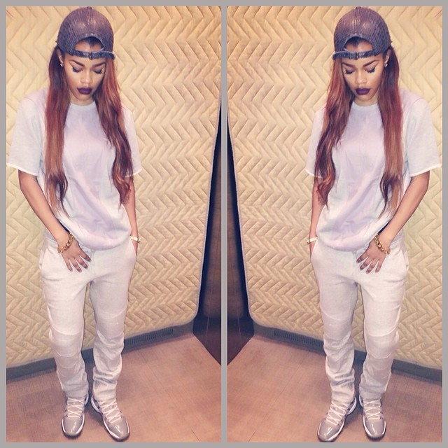 Teyana Taylor wearing Air Jordan 11 Cool Grey