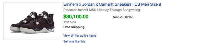 buy popular b27ba 5445c Here s How Much Every Eminem x Carhartt x Air Jordan 4 Sold For on ...