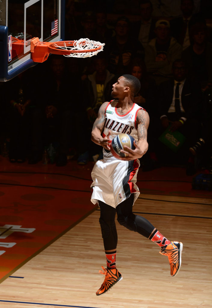 Damian Lillard wearing adidas D Rose 4.5 Tiger