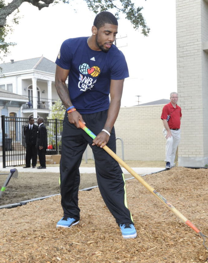 Kyrie Irving wearing Air Jordan 3 Retro Powder