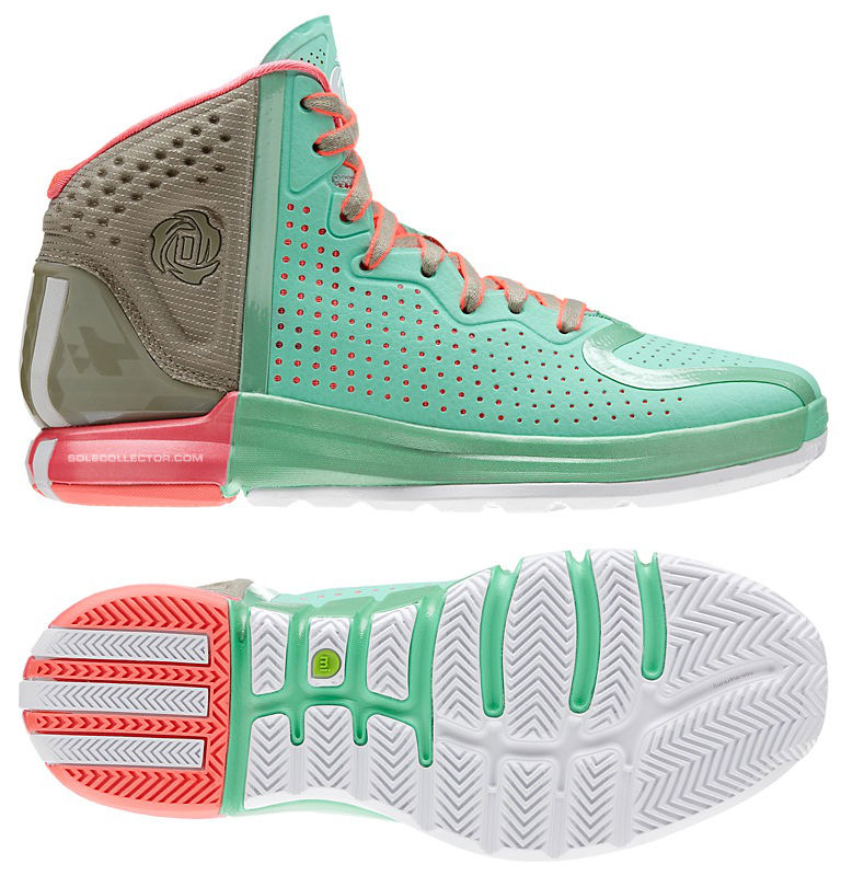 Derrick Rose Wears adidas D Rose 4 Green Brown Pink (7)