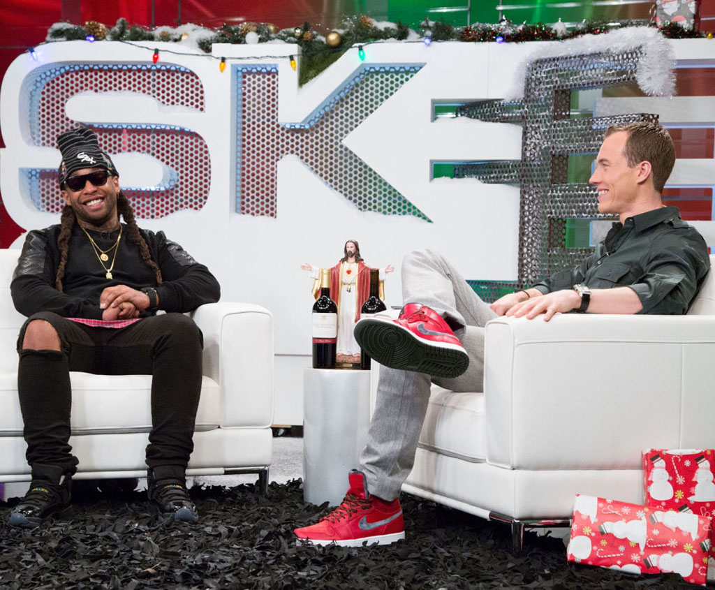 DJ Skee wearing Air Jordan 1 Retro Christmas; Ty Dolla wearing Air Jordan 11 Gamma Blue