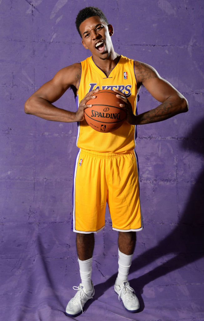 Nick Young wearing Nike Kobe 8 System