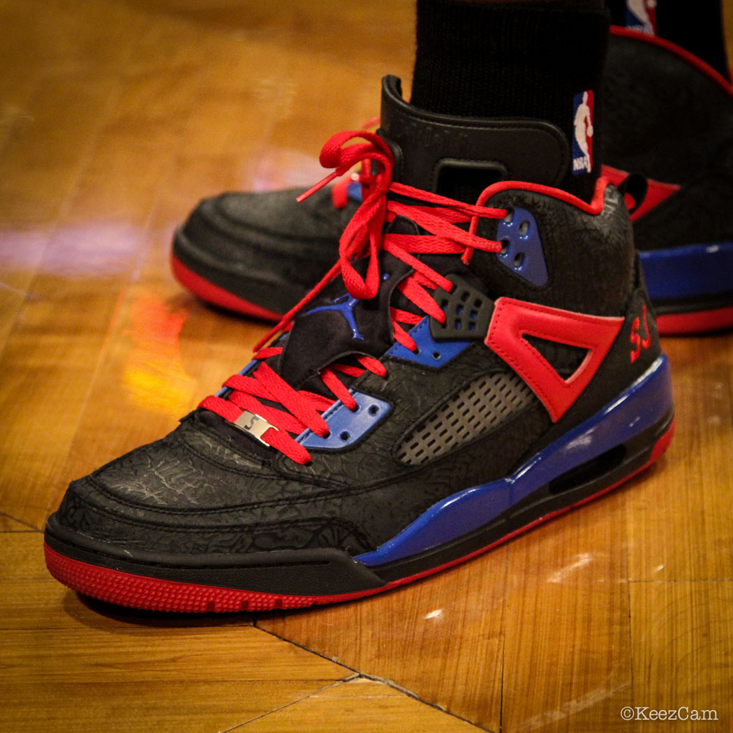 SoleWatch // Up Close At Barclays for Nets vs Clippers - Stephen Jackson wearing Jordan Spizike iD